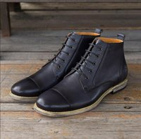 New England Men Genuine Leather shoe Hand carved leather sho...