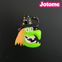 Halloween Costume Jewelry Fun Witch Face Charm Brooch Pin