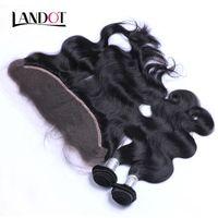 Spitze Frontal Schließung Mit 3 Bundles Brasilianisches Reines Haar Peruanisches Indisches Malaysisches Körperwelle Remy Menschliches Haar Spinnt Schließung 13x4 Ohr zu Ohr