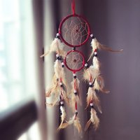Atacado- Duplo Círculo Dream Catcher com penas de suspensão Quarto decoração do ornamento