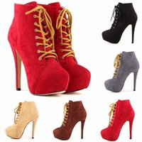 Chaussure Femme High Heels Lace Up Platform Wedges Stiletto ...
