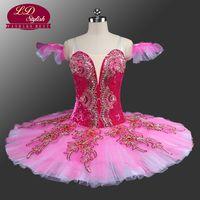 Prinsessan Aurora Professionell Ballett Tutu Peach Fairy Klassisk Tutu Ballett Kostymer Sova Beauty Pink Pancake Tutus LD0042