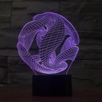 مجردة الفضاء 3D الوهم البصري الإضاءة الملونة تأثير USB بالطاقة الصمام الديكور ليلة ضوء مصباح مكتبي