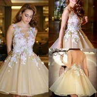 Jewel New Short Homecoming Dresses with Applique Backless Sleeveless Prom Gowns Tiered Ruffles Custom Made Formal Occasion Party Gows 2017