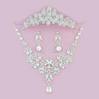 Brillante corona de novia collar pendientes conjunto Tiaras mariposa floral accesorios de la joyería nupcial conjuntos de fiesta de bodas S005 aguja de oído o clip