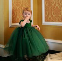 El verde esmeralda balón vestido de las muchachas de flor vestidos de tul vestido de la altura del tobillo desfile Niño Niñas de la fiesta de cumpleaños de la boda