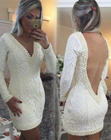 Short Sheath evening dressess with pears long Sleeves Backless Exquisite celebrity dresses Deep V-neck Lace formal Party gowns