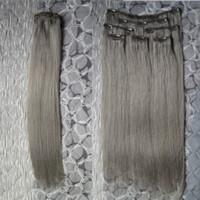 Седые человеческие волосы девственница густой зажим в наращивание волос прямые 100 г 7 шт.