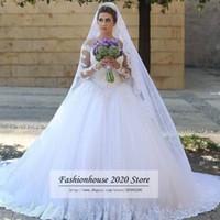 Robes de mariée en dentelle de style arabe à manches longues Sheer Illusion Tulle cou perlée appliques train Long mariage robes de mariée robes de mariée