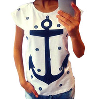 Wholesale- 2015 Summer Style Women Lady Letter Print Anchor S...