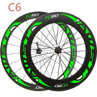 شحن مجاني الصينية عجلات الكربون 700c دو لامعة الفاصلة / أنبوبي الأخضر شارات دراجة عجلات الكربون 60 ملليمتر و 88 ملليمتر الطريق دراجة عجلات الكربون