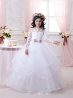 2016 White Flower Girl Dresses for Weddings Long Lace Sleeve...