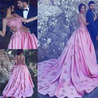 Árabe formal largo rosa satinado noche vestidos de baile 2017 apliques de encaje sin mangas por encargo celebridad vestidos de fiesta vestidos festa