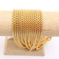 A granel 3 metros / lote Jóias Encontrar Cadeia de Aço Inoxidável de Ouro 3mm / 4mm / Moda de Alta Qualidade praça Cadeia Caixa de Marcação DIY