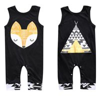 Ins verão bebê desenhos animados fox macacão crianças mangas barraca impresso macacão toddlers subir roupas crianças negras macacões w010