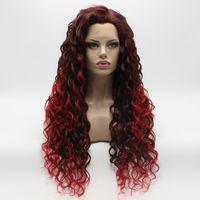 Iwona Hair Lockige Lange Auburn Root Red Ombre Perücke 18 # 33/3100 Half Hand gebunden Hitzebeständige synthetische Lace Front Perücke
