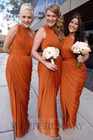 Custom Made Uzun Bir Omuz Turuncu Gelinlik Modelleri Fırfır Hizmetçi Onur Törenlerinde Örgün Düğün Misafir Elbise Kat Uzunluk