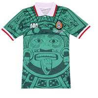 Football Soccer Jerseys Edition commémorative Mexique 1998 rétro Jerseys Home Green Away Blanc Mexico1988 Édition limitée