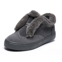 winter plus velvet peas shoes women' s boots a pedal laz...