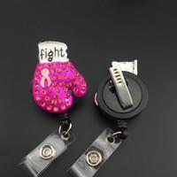 Fashion Brooch Boxing Glove Guanto Rosa Ribbon Lotta contro il cancro al seno Consapevolezza ID Retrattile ID Badge Holder