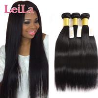 Pas cher brésilien cheveux Weave Bundles 3 Bundles cheveux raides Silky 100% cheveux humains non transformés 3Pieces un ensemble TRAMES Bundles Virgin Weaving