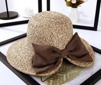 Mulheres disquete verão sol praia balde de palha chapéu fedora dobrável igreja chapéu de aba larga 56-58 cm atacado