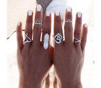 idealway 6 pc / set Adatti d'argento della pietra di gemma turco Knuckle chiodo della barretta Midi Ring Set
