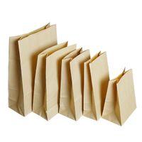 50 Adet / grup Açık Üst Için Kahverengi Kraft Kağıt Torba Alışveriş Paketi Kılıfı Sandviç Gıda Depolama Düz Alt Hediye Oyuncak Zanaat Paketleme Çanta