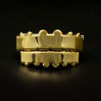 L'oro colore dei denti Hip Hop Grillz Top denti inferiori Crown Grillz Set Bocca d'argento personalizzati Denti Cappelli regalo Festa di Natale