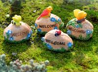 4 pz animale pappagallo fiore coccinella benvenuto pietra figurine gnomes fairy garden miniature bonsai terrario paesaggistica ornamento mestieri della resina