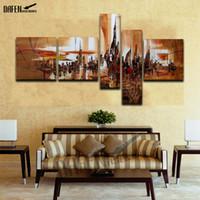 Moderne Abstracte Olieverfschilderij 5 Stuk Handgeschilderde New York City Oil Picture Unfraned Wall Art Canvas Woonkamer Woondecoratie