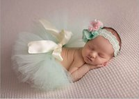 소매 유아 의류 세트 신생아 아기 거즈 수제 TUTU 치마 머리띠 사진 의류 0-4M 1651 35 색상