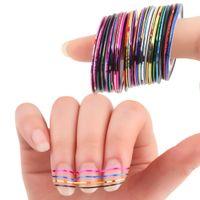 30pcs mixte coloré Beauté Rolls Striping Autocollants feuille Conseils Ruban Ligne bricolage Nail Design Art Stickers pour ongles Outils Décorations