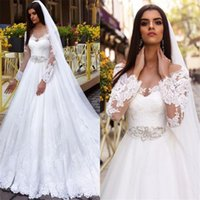 Illusion Long Sleeves Cheap Beaded Sash Long Bridal Gowns Be...