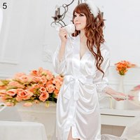 Wholesale- Women' s Sexy Faux Silk Solid Color Robe Shor...