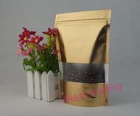 100pcs / lot, sac de gaufrage ziplock de 14 * 20cm en aluminium doré foncé avec fenêtre, doypack de stockage de flocons de maïs, pochette en noix de coco