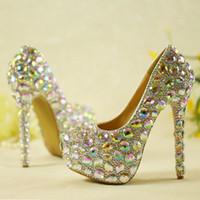 高品質の輝くクリスタルの結婚式の靴ABクリスタルブライダルドレスシューズシンデレラのウエディングパンプス結婚披露宴の記念日の靴
