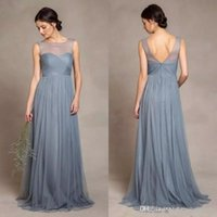 Dusty Grey Tulle Bridesmaid Dresses 2017 Illusion Scoop Neck...