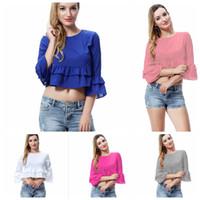 T-shirt das mulheres sólida sólida cor do pescoço do pescoço flouncing meninas moda casual tank top lady top tees