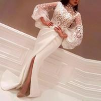 Sirena encantadora árabe Vestidos de fiesta apliques Cuello alto Vestidos de noche laterales delanteros con mangas largas Barato tren tren Vestido formal