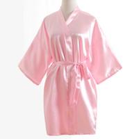 All'ingrosso-Top estate Kimono da donna Mini accappatoio rosa Faux Silk Bath Gown Yukata Camicia da notte Sleepwear Pijama Mujer One Size Msj011
