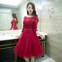 2017 nieuwe mode wijn rode kant bloem 3/4 mouwen korte a-line cocktailjurk de bruid feestjurken custom plus size formele jurk