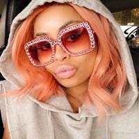 Óculos de sol de alta qualidade ROYAL GIRL Crystal Rim Mulheres Sunglasses Retro Marca Desginer Square Oversize Sun GlassesHigh-qualidade óculos de sol