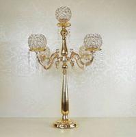 Envío gratis oro / plata cristal plateado 5 brazos candelabros candelabros de metal decoración de la boda