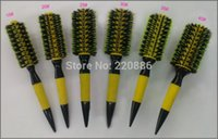Atacado-Frete grátis escova de cabelo de madeira com mistura de cerdas de javali Nylon Styling Tools Professional escova de cabelo redonda GIC-HB505 (6pcs / set)