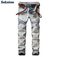 Wholesale- Sokotoo Men' s casual painted holes ripped bi...