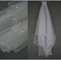 Brilhante artesanal frisado véu de casamento de borda lantejoulas 2 camadas short tule branco / marfim nupcial véus 2019 melhor venda