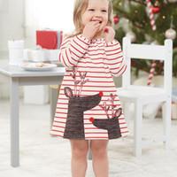 여자 드레스 아동복 가을 공주 아기 튜닉 동물 자수 여자 드레스 어린이 크리스마스 슬리브 스트라이프 엘크 드레스 여자