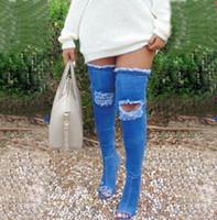2017 nuevo diseñador recortes de tacón alto Denim mujer muslo botas altas primavera otoño Sexy punta estrecha tacones finos botas largas 35-42
