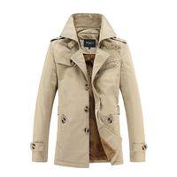 Atacado- Brasão Outono Inverno Trench homens moda casual cáqui reves lã quente Blusão Mens médio-longo casaco grande tamanho M-5XL
